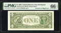 Error Notes:Third Printing on Reverse, Overprint on Back Error Fr. 1913-E $1 1985 Federal Reserve Note. PMG Gem Uncirculated 66 EPQ.. ...