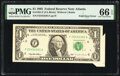 Error Notes:Foldovers, Fold Over Error Fr. 1921-F $1 1995 Federal Reserve Note. PMG Gem Uncirculated 66 EPQ.. ...