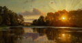 Peder Mork Monsted (Danish, 1859-1941) Sunset at Orholm, 1896 Oil on canvas 13 x 24-1/4 inches (3