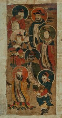 A Chinese Deity Painting, Qing Dynasty 48 x 22 inches (121.9 x 55.9 cm) (work) 57-1/2 x 33 inches (146.0 x 83.8 cm) (fra...
