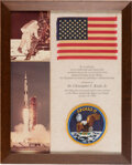 Explorers:Space Exploration, Apollo 11 Lunar Module Flown American Flag and Embroidered (!) Mission Insignia Patch as Presented to and Directly from the Es...