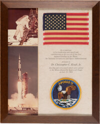 Apollo 11 Lunar Module Flown American Flag and Embroidered (!) Mission Insignia Patch as Presented to and Directly from...