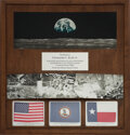 Explorers:Space Exploration, Apollo 12, Apollo 16, and Apollo 17 Flown Flags in Unique Wall Display Presented to and Directly from the Estate of NASA Lege...