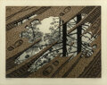 Prints & Multiples, M. C. Escher (1898-1972). Puddle, 1952. Woodcut in colors on thin laid Japon paper. 9-1/2 x 12-5/8 inches (24.1 x 32.1 c...