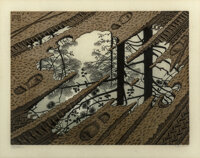 M. C. Escher (1898-1972) Puddle, 1952 Woodcut in colors on thin laid Japon paper 9-1/2 x 12-5/8 i