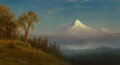 Paintings, Albert Bierstadt (American, 1830-1902). Mount St. Helens, Columbia River, Oregon, 1889. Oil on canvas. 18 x 32-1/2 inche...