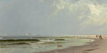 Paintings, Alfred Thompson Bricher (American, 1837-1908). Newport Beach, 1872. Oil on canvas. 12-1/4 x 24-1/4 i...