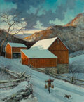 Paintings, Eric Sloane (American, 1905-1985). Red Barn, New Milford, Connecticut. Oil on Masonite. 26-3/4 x 21-3/4 inches (67.9 x 5...