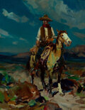 Paintings, Frank Tenney Johnson (American, 1874-1939). Ridin' the Range. Oil on Masonite. 17-7/8 x 14 inches (4...