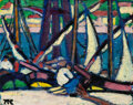 Paintings, Marguerite Thompson Zorach (American, 1887-1968). Along the River-Martigues, 1910. Oil on panel. 12-...
