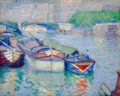Paintings, Abel George Warshawsky (American, 1883-1962). Boats on the Seine, 1911. Oil on canvas. 26 x 32 inches (66.0 x 81.3 cm). ...