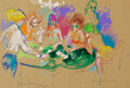 Works on Paper, LeRoy Neiman (American, 1921-2012). Black Jack Girls, 1989. Acrylic, pastel, and marker on paper. 14-3/4 x 21-5/8 inches...