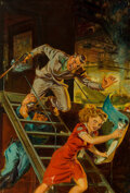 Paintings, Norman Saunders (American, 1907-1989). Memo from the Murdered, 10 Story Detective cover, November 1942. Oil on canvas. 2...