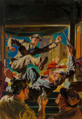 Paintings, Norman Saunders (American, 1907-1989). Up Pops the Corpse, 10 Story Detective cover, July 1941. Oil on...