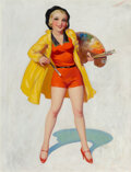 Pin-Up and Glamour Art, Enoch Bolles (American, 1883-1976). Looking for a Model Young Man, Fun Film cover, November 1933. Oil on canvas. 24 x 18...