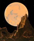 Pulp, Pulp-like, Digests and Paperback Art, Chesley Bonestell (American, 1888-1986). Mars as Seen from the Outer Satellite, Deimos, The Solar System interior book ill...