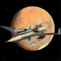 Pulp, Pulp-like, Digests and Paperback Art, Chesley Bonestell (American, 1888-1986). The Exploration of Mars book cover, Winged Rocket Ferry Orbits Mars Prior to Land...