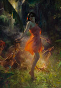 Paintings, Charles Edward Chambers (American, 1883-1941). Fire Dancer, circa 1920. Oil on canvas. 30 x 21 inches (76.2 x 53.3 cm). ...