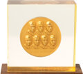 Explorers:Space Exploration, Mercury Seven Monument 14K Gold Medal #17 by Medallic Arts (Ralph J. Menconi, Sc) in Acrylic Display, Presented in 1964 to and...