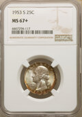 Washington Quarters, 1953-S 25C MS67+ NGC. NGC Census: (345/5). PCGS Population: (132/1). CDN: $135 Whsle. Bid for NGC/PCGS MS67. Mintage 14,016...