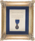 Explorers:Space Exploration, Swedish His Majesty the King's Medal, 8th Size, in Silver on Blue Ribbon, Presented by King Carl XVI Gustaf in 1976 to and Dir...