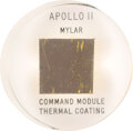 Explorers:Space Exploration, Apollo 11 Flown Kapton Foil in Lucite Directly from the Estate of NASA Legend Chris Kraft, with Certificate of Authenticity. ...