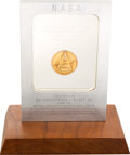 Explorers:Space Exploration, Space Shuttle Columbia (STS-1) Flown Gold Robbins Medallion, Serial Number 9F, Directly from the Estate of NASA Le...