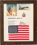 Explorers:Space Exploration, Space Shuttle Columbia (STS-1) Flown American Flag, Presented Directly to Chris Kraft and Directly from this NASA ...