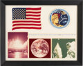 Explorers:Space Exploration, Apollo 17 Flown American Flag and Flown Embroidered Mission Insignia Patch in Framed Display, Directly from the Estate of NASA...