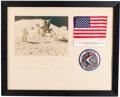 Explorers:Space Exploration, Apollo 15 Flown American Flag on Crew-Signed Mat, Directly from the Estate of NASA Legend Chris Kraft, with Certificate of Aut...
