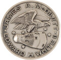 Explorers:Space Exploration, Gemini 4 Flown Silver Fliteline Medallion in Acrylic Slab Directly from the Estate of NASA Legend Chris Kraft, with Certif...