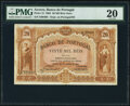 World Currency, Azores Banco de Portugal 20 Mil Reis Ouro 30.1.1905 Pick 13 PMG Very Fine 20.. ...