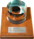 Explorers:Space Exploration, Apollo 11 Flown Heat Shield Plug in Lucite Display on Wooden Base Directly from the Estate of NASA Legend Chris Kraft, with Ce...