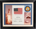 Explorers:Space Exploration, Space Shuttle Columbia (STS-3) Flown American Flag and Crew Patch with Crew-Signed Certificate in Framed Display D...