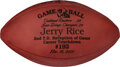 Football Collectibles:Balls, 2001 Oakland Raiders Game Used Football Presented to Jerry Rice for Career Touchdown #192....