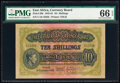World Currency, East Africa East African Currency Board 10 Shillings 1.9.1943 Pick 29b PMG Gem Uncirculated 66 EPQ.. ...