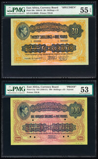 East Africa East African Currency Board 20 Shillings = 1 Pound; 100 Shillings = 5 Pounds 1.6.1939; ND (1938-51) Pick