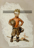 Paintings, Joseph Christian Leyendecker (American, 1874-1951). Beat-up Boy, Football Hero, The Saturday Evening Post cover
