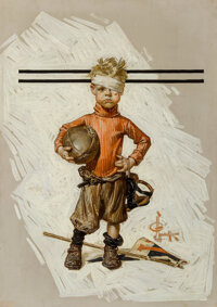 Joseph Christian Leyendecker (American, 1874-1951) Beat-up Boy, Football Hero, The Saturday Evening Post cover<...