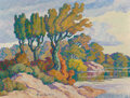 Paintings, Birger Sandzén (American, 1871-1954). Early Fall, Smoky Hill River, Kansas, 1940. Oil on Masonite. 27-1/2 x 36 inches (6...
