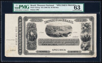 Brazil Thesouro Nacional 20 Mil Reis ND (1866-70) Pick A241sp Specimen Proof PMG Choice Uncirculated 63
