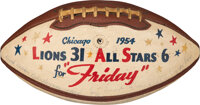 """1954 Detroit Lions Team Signed College All-Star Game Used Football Presented to Equipment Manager Roy """"Friday""""..."""