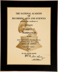 """Music Memorabilia:Awards, The Spinners Grammy Nomination For """"Mighty Love"""" (1974). ..."""