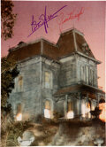 Movie/TV Memorabilia:Autographs and Signed Items, Anthony Perkins/Janet Leigh Signed Photo Featuring Bates House from Psycho....