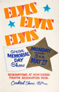 Music Memorabilia:Posters, Elvis Presley High Sierra Cutout Stand-Up Promo Concert Poster (1974)....