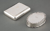 Two European Silver Snuff Boxes, late 19th century and later Marks: (various) 0-5/8 x 3-1/2 x 2 inches (1.6 x 8.9 x 5.1...