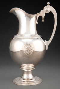 A D&C Silver Medallion Pitcher, New York, circa 1880 Marks: NEW YORK, 925 STERLING, (diamond-D&C) 13 x 8...