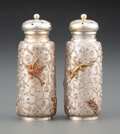 Silver & Vertu, A Pair of Dominick & Haff Silver Salt and Pepper Shakers with Mixed Metal Appliqué, New York, 1880. Marks to each2: STERLI... (Total: 2 )