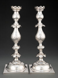 A Pair of Fraget Silver Plated Candlesticks, Poland/Russia, late 19th-early 20th century Marks: (Imperial Russian coat o...