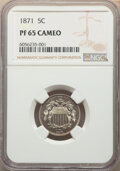 Proof Shield Nickels: , 1871 5C PR65 Cameo NGC. NGC Census: (22/20). PCGS Population: (29/24). PR65. ...